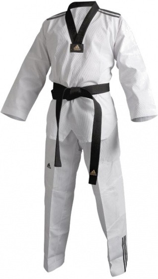 Taekwondo Adi-Club 3 Dobok Unisex Black / White Size 130