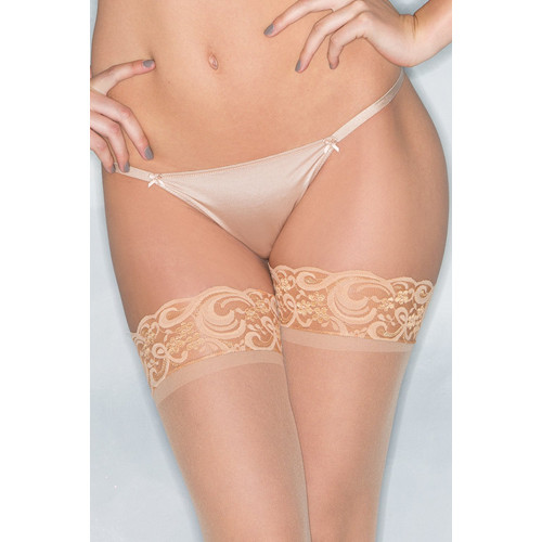Basic Thong With Bows - Nude