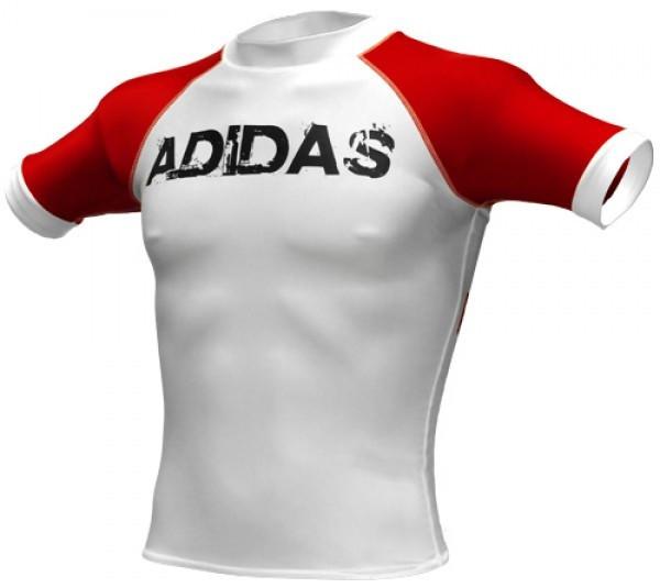 T-Shirt Rashguard Impact Unisex White / Red Size S