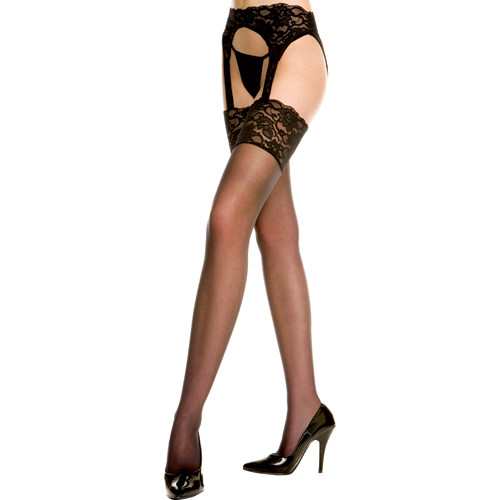 Lace Garter Belt With Stockings Black