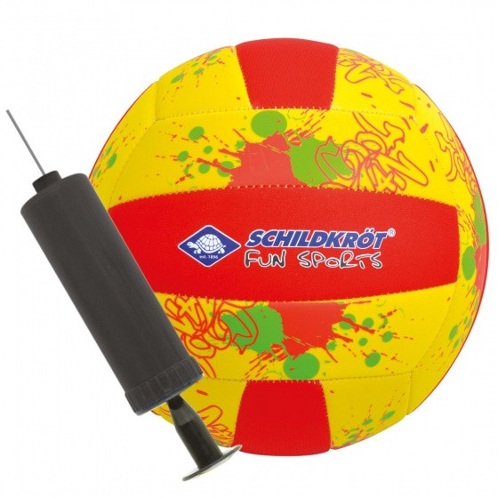 Beach Volleyball With Pump Size 5 Yellow / Red