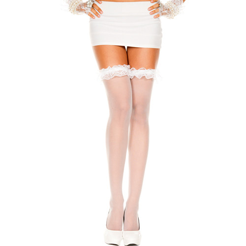 Thigh high Stockings With Ruffles - White