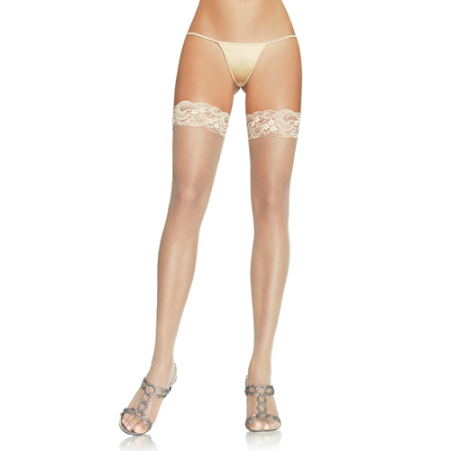 Nylon Thigh Highs With Lace Top - White