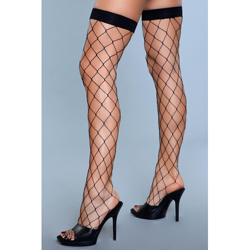 Caught In My Trap Thigh High Stockings - Black