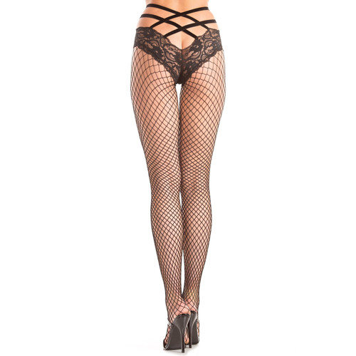 Fishnet Pantyhose With Lace And Crossed Bands