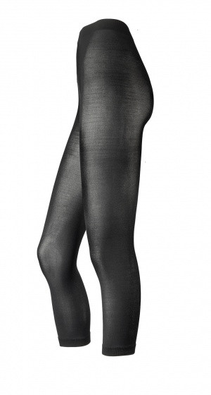 Tights Without Foot Black Microfiber Size L