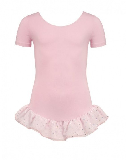 Ballet Suit Short Sleeve With Glitter Pink Size 152