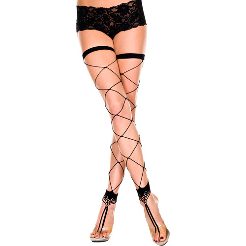 Footless fishnet stockings with toe ring