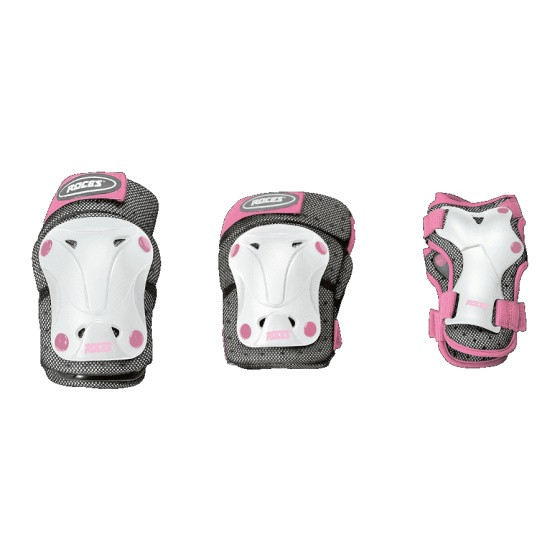 Protective Set 3-Piece Girls White / Gray / Pink Size S
