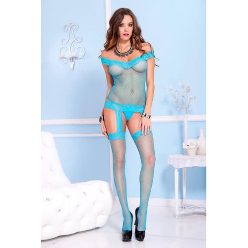 Off The Shoulder Suspender Set Catsuit - Turquoise