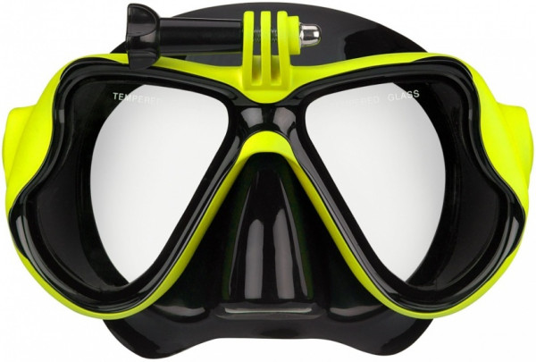 Diving Mask Rubberized Unisex Black / Yellow