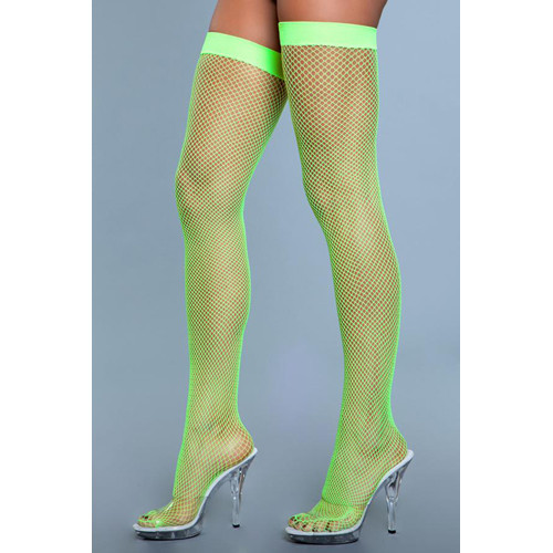 Nylon Fishnet Thigh Highs - Neon Green