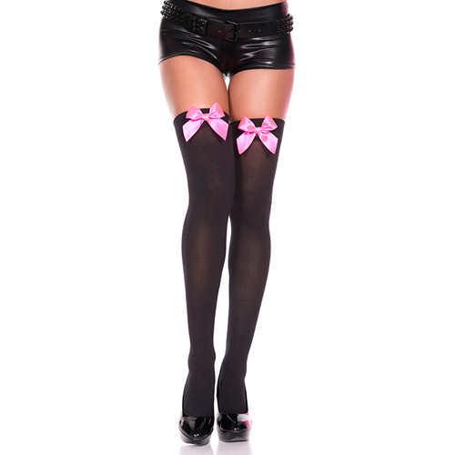 Thigh High Stockings With Pink Bow