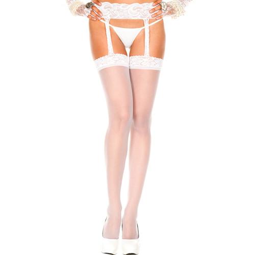 Lace top sheer garterbelt stockings