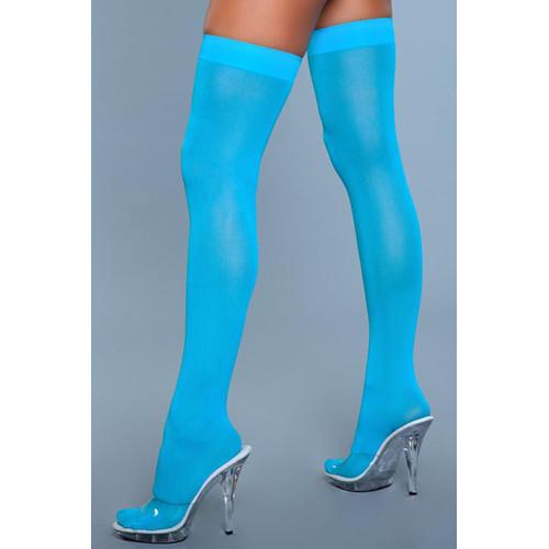 Thigh High Nylon Stockings - Turquoise