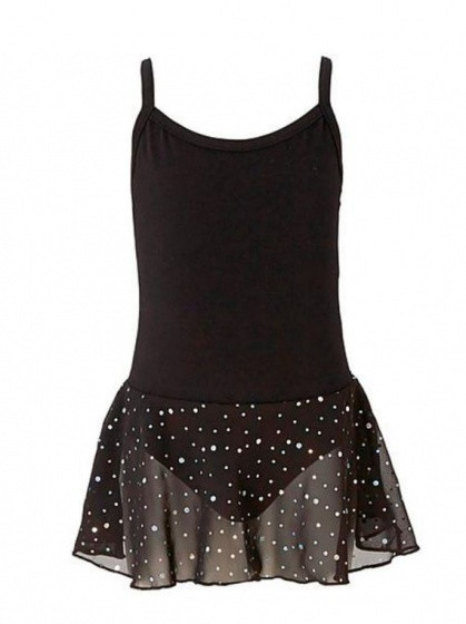 Ballet Suit Spaghetti Strap With Glitter Black Size 152
