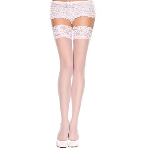 Lace top sheer thigh hi WHITE