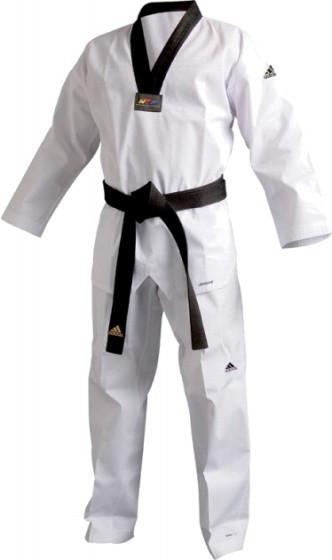 Taekwondo Adi-Champ Iii Dobok Unisex White / Black Size 150