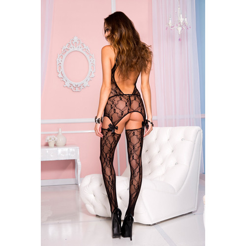 Lace cutout cami garter with attached stockings BLACK