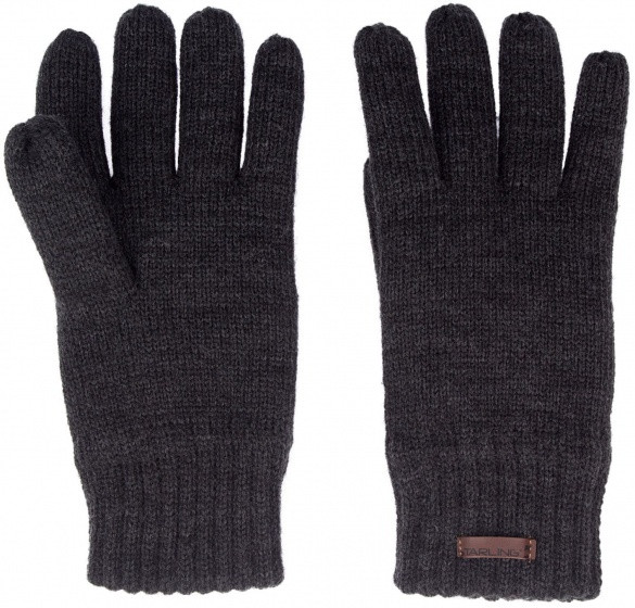 Lined Gloves Knitted Size L Black