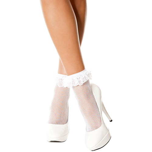 Fishnet anklet with ruffle trim WHITE