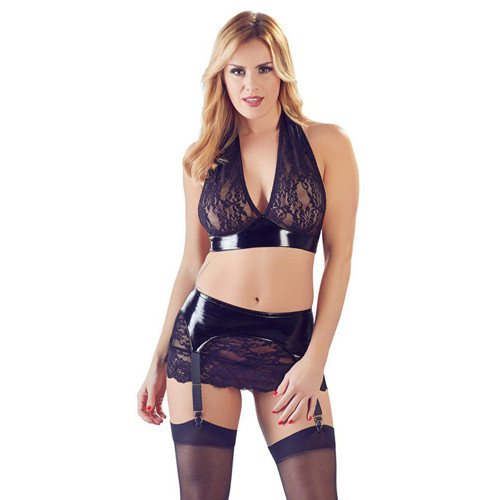 PVC Top & Suspender Skirt With Lace