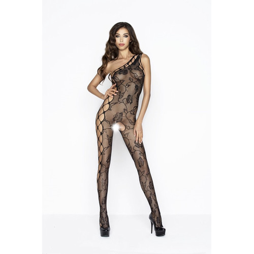 Crotchless Fishnet Bodystocking With Floral Pattern